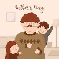Father happy with son and daughter on Father's Day at his home vector