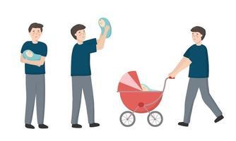el nuevo padre tuvo una hija. le gusta sostener al bebé y llevarlo a pasear en el cochecito. vector