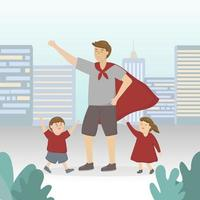 A father dressed up as a superhero to play with his sons and daughters for Father's Day. vector
