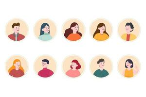 Smiling people avatar set. Different men and women characters collection. vector
