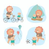 Lion father took his son for activities on Father's Day vector