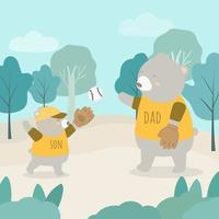 Father Bear plays baseball with Cubs in the forest in father's day. vector