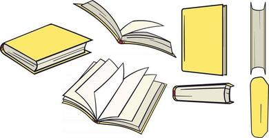 Big set of yellow books hand drawn from different angles. vector