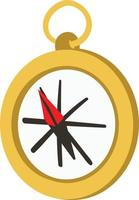 Magnetic Compass for travelers and backpackers to find direction in wild forest. vector