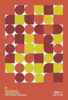 Ilustración de fondo geométrico bauhaus abstracto, diseño plano de formas geométricas de mural colorido vector gratuito