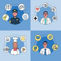 Cartoon Character design. Various of people different professions job and occupations character vector