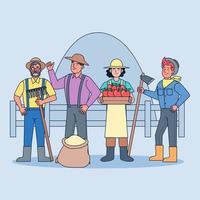 un grupo de agricultores que cultivan, cultivan verduras, cultivan arroz, crían animales y hacen agricultura mixta. vector