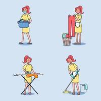 personaje de criada de dibujos animados. conjunto de asuntos mujer ama de casa vector
