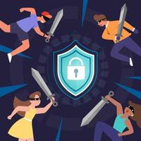Hackers attacking shield defenses to gain access to sensitive data. vector