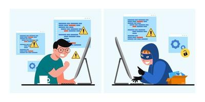 A young man has stolen by hackers through the internet vector