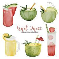 Set of Fruit juice in watercolor style flat vector