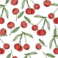 seamless with Cherry in watercolor collection flat vector