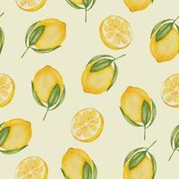 seamless with lemon in watercolor collection flat vector