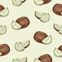 seamless with Kiwi in watercolor collection flat vector