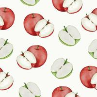 seamless with apple in watercolor collection flat vector