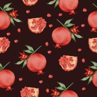 seamless with Pomegranate in watercolor collection flat vector
