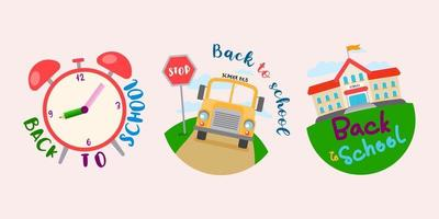 Welcome Back to school with funny school characters flat vector illustration.