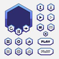 Vector game template gui kit. Interface button elements