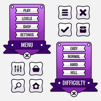 Vector game template gui kit. Interface Level selection multi stage elements