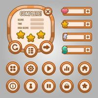 Vector game template gui kit. Game graphical user Interface GUI for build web and mobile games and apps.