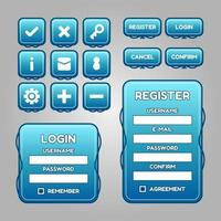 Vector game template gui kit. Interface log in page elements