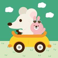 The rabbit took the mouse to teach him how to drive until he was good. vector