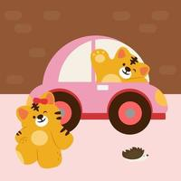 Tiger lover drive car go to shopping mall vector