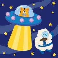Cat and bear invite each other to fly a spaceship. vector