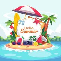 Seaside View With sea, sand, swimming ring, sun glass, surf board, leaf, coconut tree, slipper, lemon, camera and typographic. vector