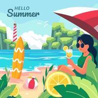woman drinking fruit juice under umbrella on the beach vector