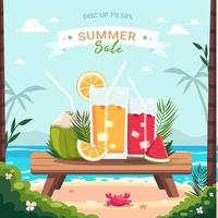 Summer time Scene. Beach parties have tables on the beach vector