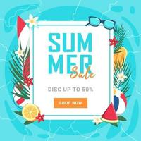 There is a summer sale banner 50 percent off. Vector illustration