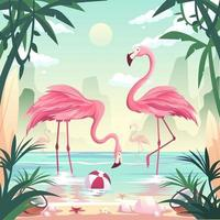 Summer time beach concept. Flamingos catching fish at the seashore vector