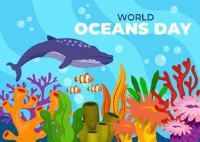 salvar el océano. Diseño del día mundial de los océanos con océano submarino. vector