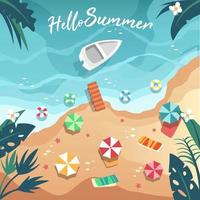 The seaside aerial view features a pier, boats, swim rings, umbrellas and sunbeds. vector