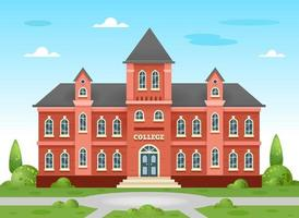 College building. Academic building, university in traditional English style with trees and a green lawn and playground. Vector illustration on white background.