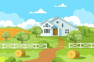 Summer garden with a white house, ponds, green trees. Country landscape. Vector flat illustration