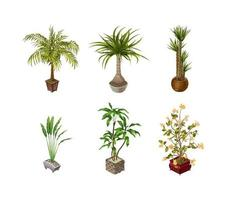 Indoor plants and flower on a light background for interior design in isometric. Vector illustration