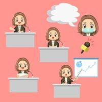 Set of female News anchor with microphone cartoon character vector