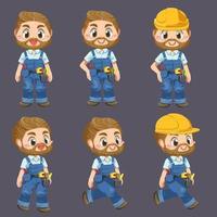 Worker man wearing uniform and helmet holding tool cartoon character vector