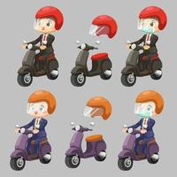 Worker man wearing suit and protect antiknock riding motorcycle vector