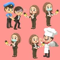 Set of female journalist with microphone in cartoon character vector
