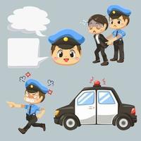 policía arrestando al culpable al vector de dibujos animados de coche de policia