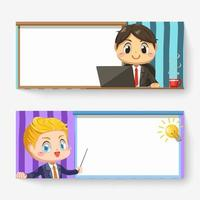 Banner of businessman in meeting room cartoon character vector