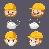 Head repairman wearing helmet and protection dust mask cartoon character vector