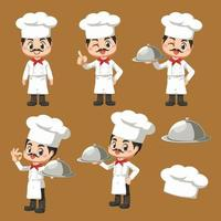 chef mascot in cartoon character  vector design for culinary business