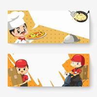 banner de chef y cartero en vector de personaje de dibujos animados