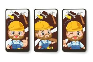 Card emotion of repairman or handyman in cartoon character vector
