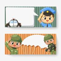 Banner of police man and army soldier  in cartoon character vector