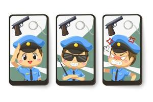Card emotion of police man in cartoon character vector